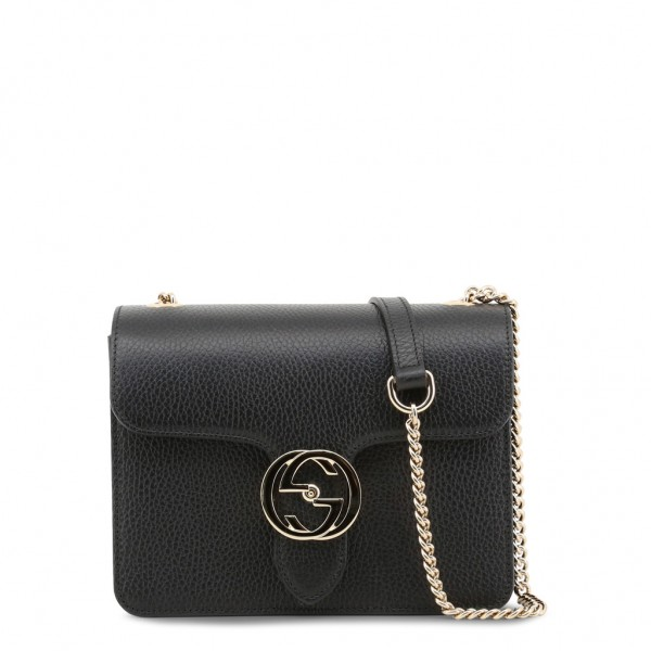GUCCI Leather Crossbody Bag Damen Umhängetasche Schwarz