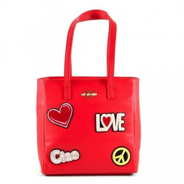 LOVE MOSCHINO Patched Shopping Bag Damen Handtasche Rot