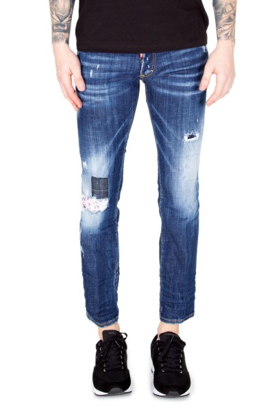 DSQUARED2 Destroyed Short Slim Denim Jeans Dark Blue Herren