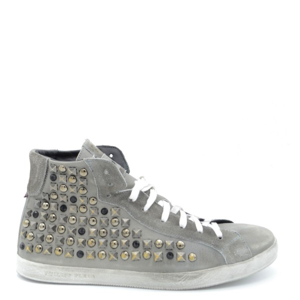 PHILIPP PLEIN High Top Leather Boots Herren Sneaker Grau