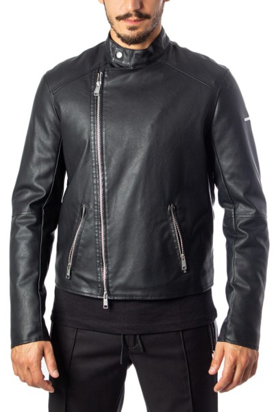ARMANI EXCHANGE Back Logo Leather Jacket Herren Lederjacke