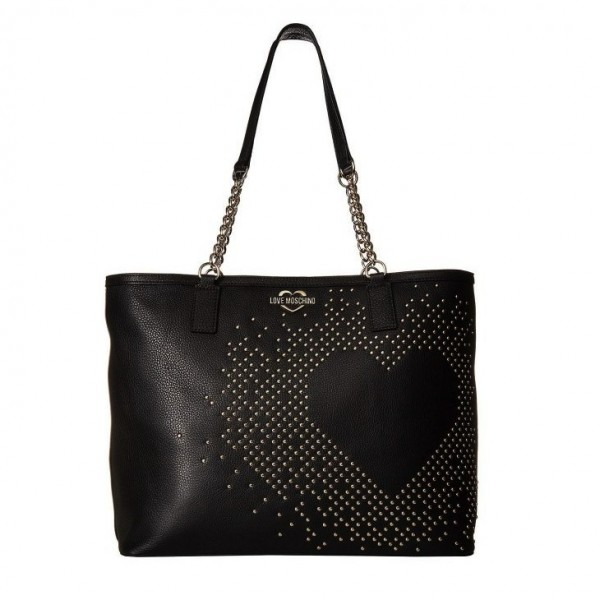 LOVE MOSCHINO Heart Studded Shopping Bag Damen Handtasche Schwarz