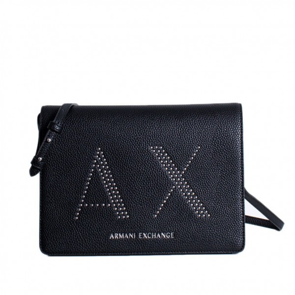 ARMANI EXCHANGE AX Studded Logo Bag Damen Handtasche Schwarz