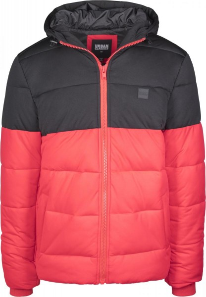 Hooded 2-Tone Puffer Jacket Schwarz Rot TB2425-RED