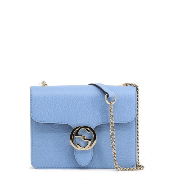 GUCCI Leather Crossbody Bag Damen Umhängetasche Hellblau