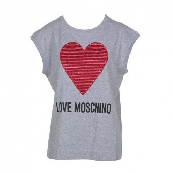 Love Moschino Big Heart Logo SL Tee Damen Top Grau