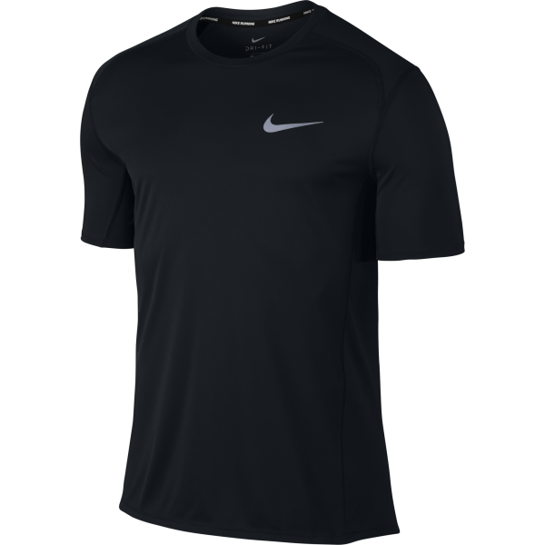Men's Nike Dry Miler Running Top Men's Short-Sleeve Running Top 833591-010 | HERREN TEXTIL OBERTEILE | BLACK/BLACK
