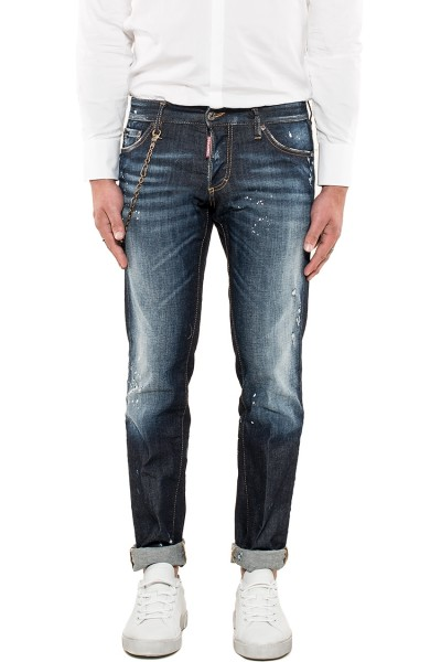 DSQUARED2 Destroyed Slim Denim Jeans Dark Blue Herren S71LB0440-470