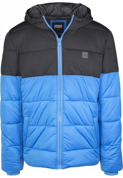 Hooded 2-Tone Puffer Jacket Schwarz Blau TB2425-BLUE