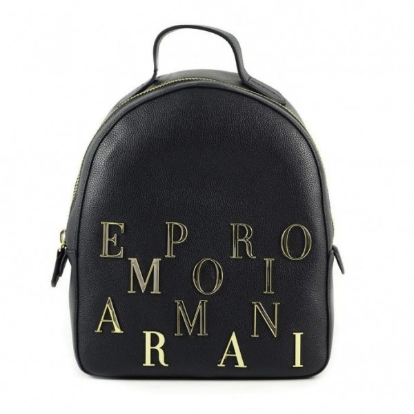 EMPORIO ARMANI Gold Logo Letter Leather Backpack Schwarz