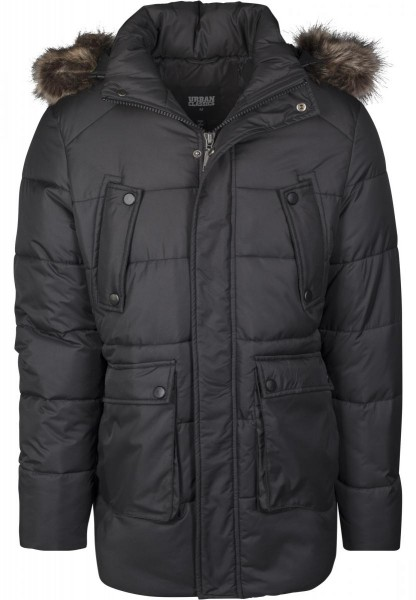 Urban Classics Faux Fur Hooded Jacket Schwarz TB2430-BLACK