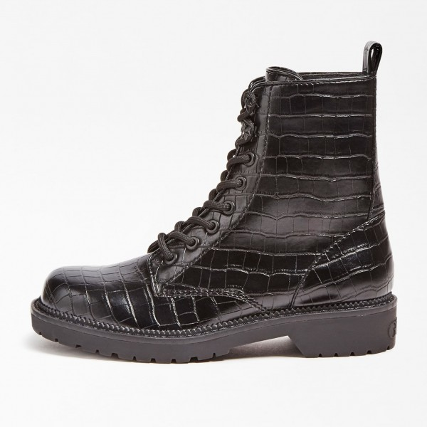 GUESS Talisi Cocco Leather Boots Damen Schnürboots