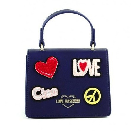 LOVE MOSCHINO Patched Mini Bag Damen Handtasche Navy