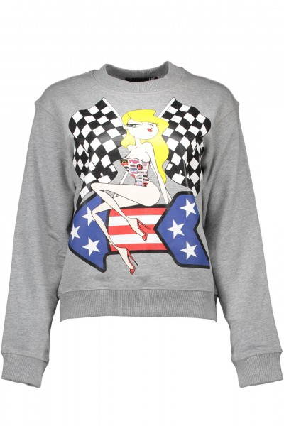MOSCHINO Race Girl Print Sweater Damen Sweatshirt Grau