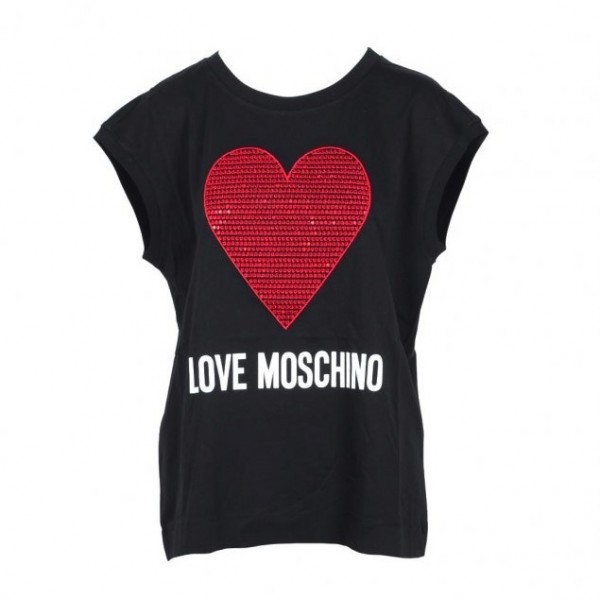 Love Moschino Big Heart Logo SL Tee Damen Top Schwarz