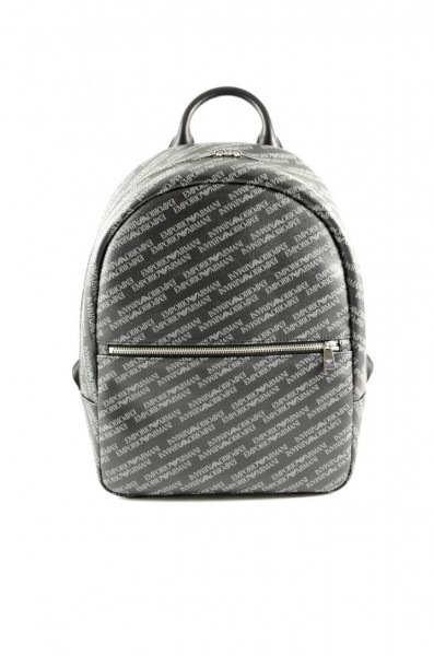 Emporio Armani Allover Logo Leather Backpack