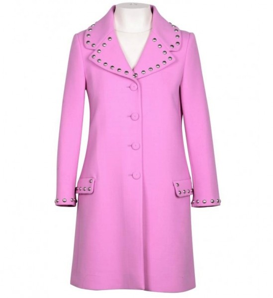 MOSCHINO Couture Coat with Studs Damen Mantel Pink