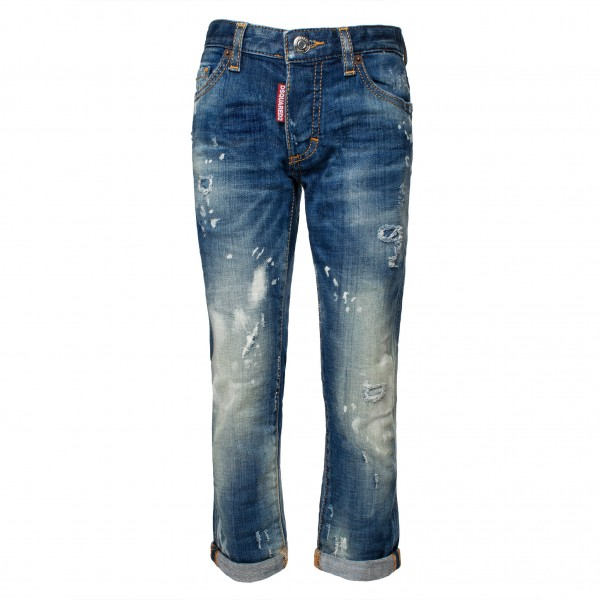 DSQUARED2 Destroyed Faded Friend Jean Denim Jeans Kids
