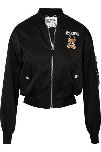 MOSCHINO Couture Playboy Teddy Satin Bomber Jacket Damen