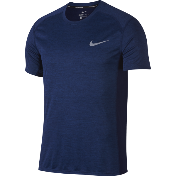Men's Nike Dry Miler Running Top Men's Short-Sleeve Running Top 833591-478 | HERREN TEXTIL OBERTEILE | BLUE VOID/HTR