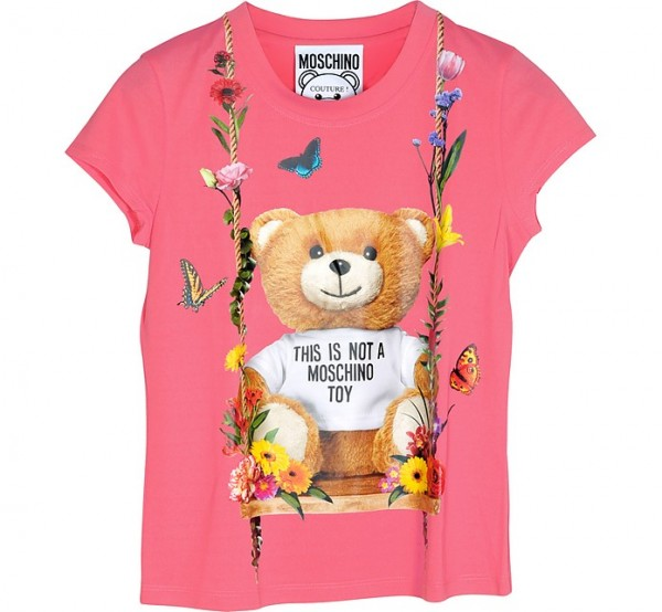 MOSCHINO Couture Floral Teddy Bear Print Tee Damen T-Shirt Pink