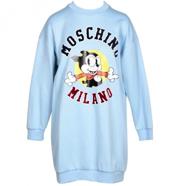 MOSCHINO Milano Vintage Mickey Mouse Printed Dress Damen Sweatshirtkleid Hellblau