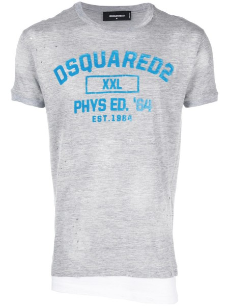 DSQUARED2 Slogan Flock Print Destroyed Herren T-Shirt S71GD0644-S22146-857