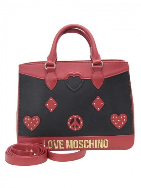 LOVE MOSCHINO Patched Shoulder Bag Damen Handtasche Rot Schwarz