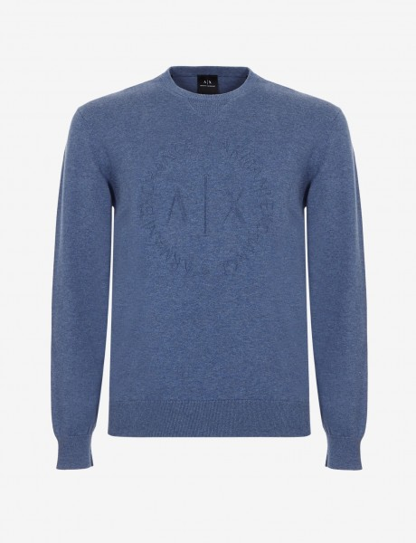 ARMANI EXCHANGE Crew Neck Logo Herren Pullover Light Blue