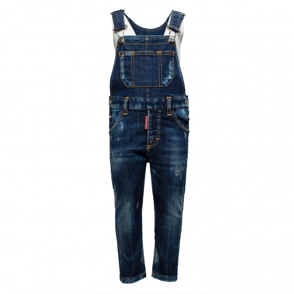 DSQUARED2 Little Kids Faded Denim Onepiece