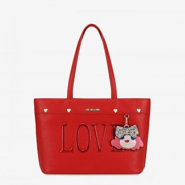 LOVE MOSCHINO Charming Doll Shopping Bag Damen Handtasche Rot