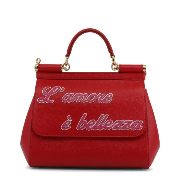 DOLCE & GABBANA Miss Sicily Amore Leather Bag Damen Umhängetasche Rot