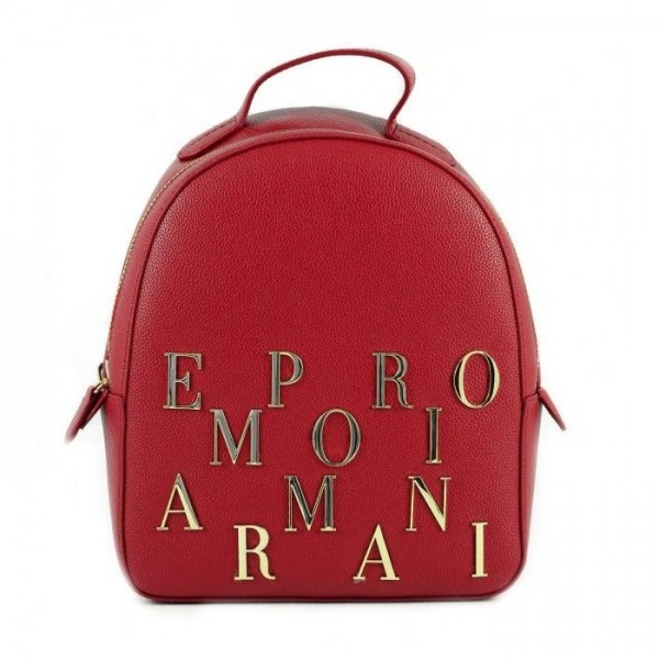 EMPORIO ARMANI Gold Logo Letter Leather Backpack Rot
