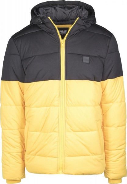 Hooded 2-Tone Puffer Jacket Schwarz Gelb TB2425-YELLOW