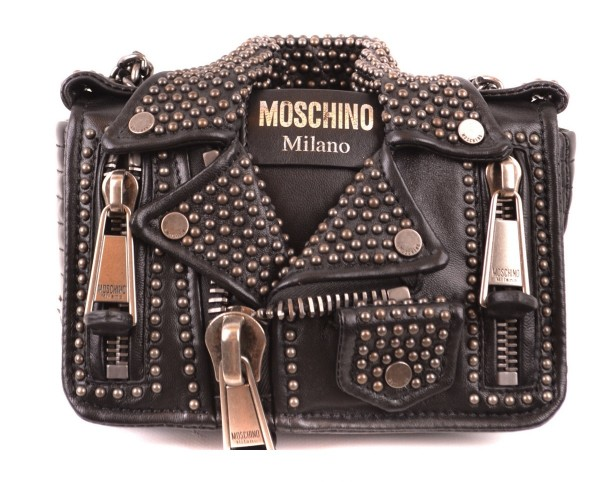 MOSCHINO Zipper Leather Biker Jacket Women Bag