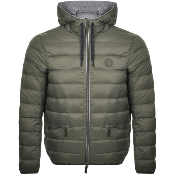 ARMANI EXCHANGE Hooded Packable Down Jacket Herren Daunenjacke Khaki
