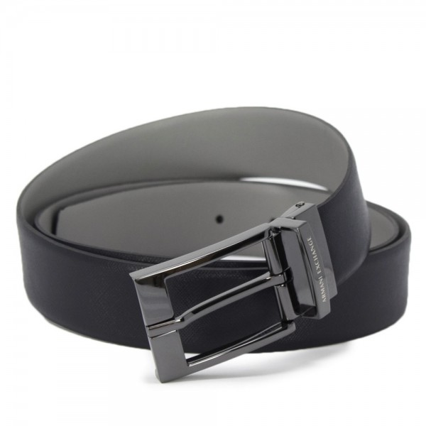 ARMANI EXCHANGE Leather Belt Herren Ledergürtel Navy