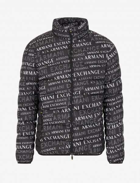 ARMANI EXCHANGE Allover Logo Print Down Jacket Herren Daunenjacke