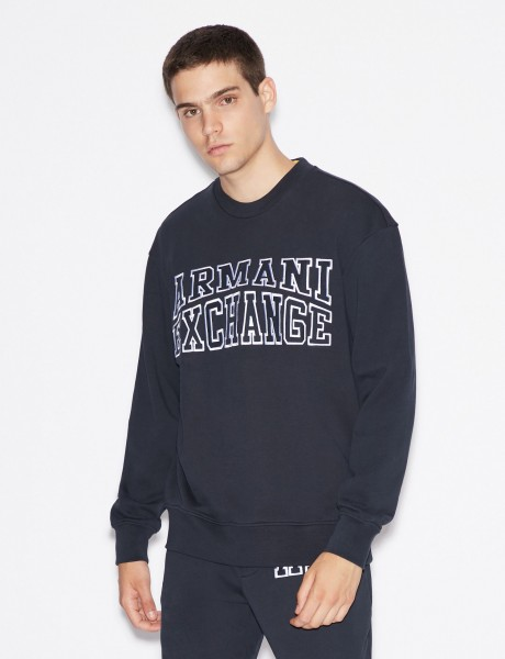 ARMANI EXCHANGE Crew Neck Logo Herren Sweatshirt Navy