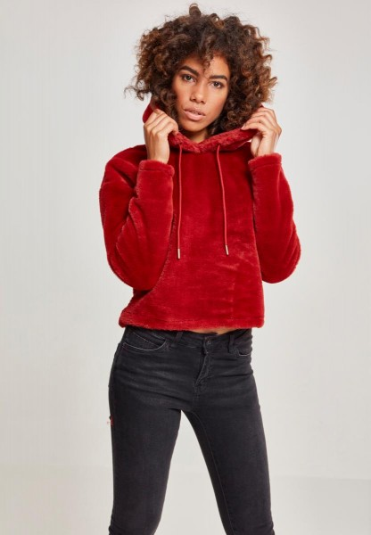 Urban Classics Ladies Oversize Short Teddy Hoody Rot TB2348-Burgundy