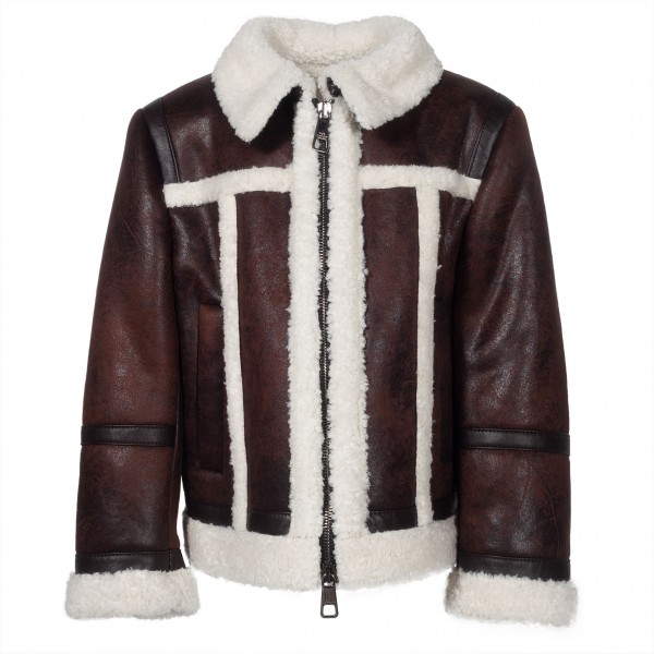 NEIL BARRETT Kids Leather Fur Jacket