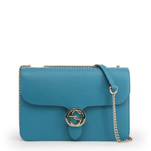 GUCCI Leather Shoulder Bag Damen Umhängetasche Blue