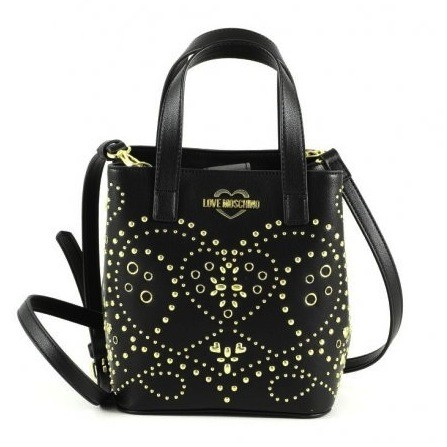 LOVE MOSCHINO Studded Shoulder Bag Small Damen Handtasche Schwarz